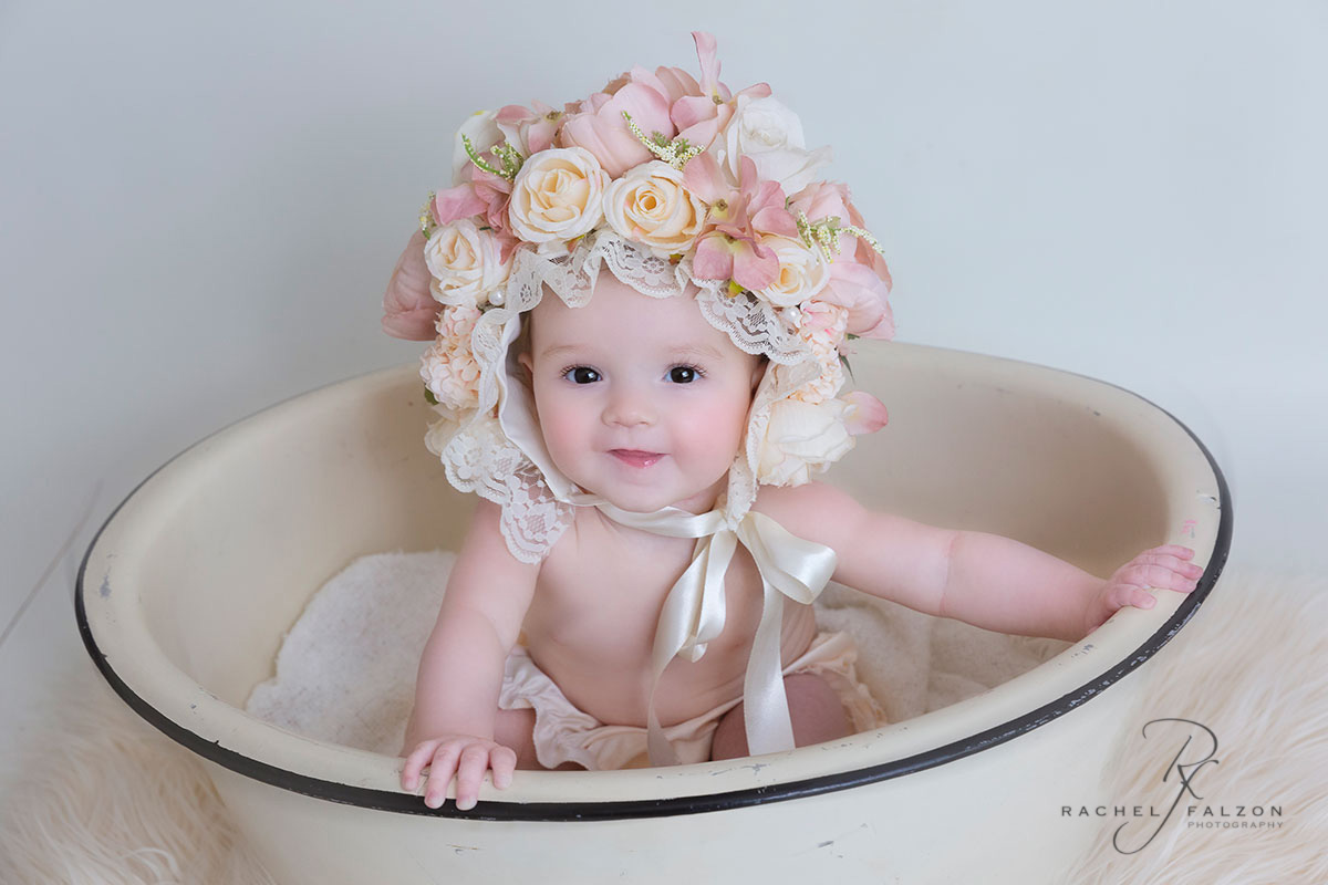 Baby girl in vintage bowl penrith photography