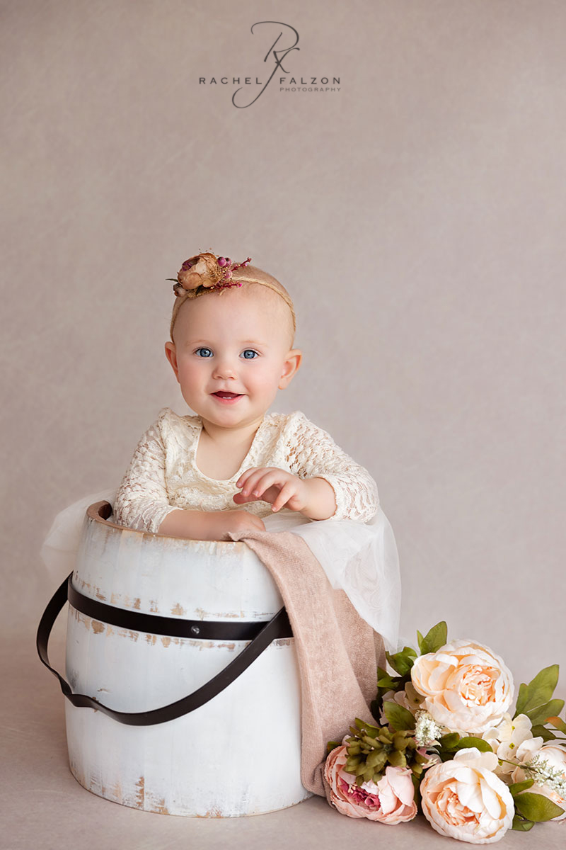 Baby in a bucket photography