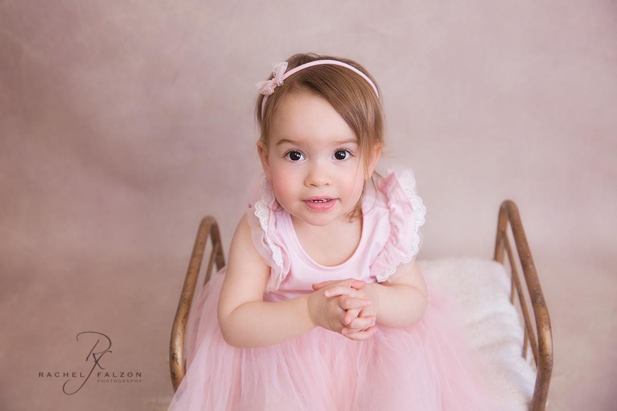 Baby girl dressed in pink during her photo shoot in western sydney