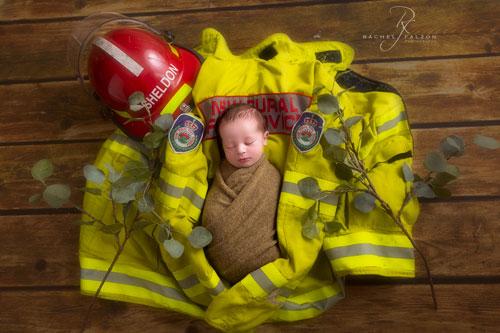 Firefighter themed newborn shoot