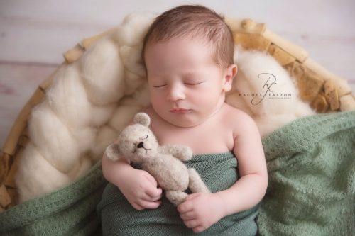 Sleeping newborn with teddy Penrith
