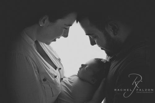 Silhouette newborn family