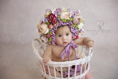 Baby in flower headpiece
